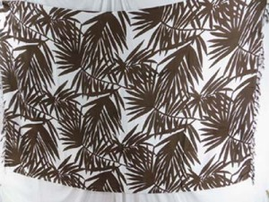 black/dark brown palm leaf on white background sarong