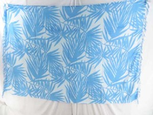 turquoise blue and white palm leaves sarong