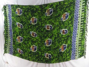 fish sealife green sarong