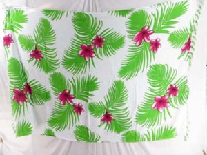 pink flower green leaf white sarong beach accessories