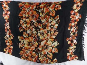 black sarong with aloha hibiscus flower rows in center mixed colors randomly picked by our warehouse staffs (more of the golden orange color, the last one)