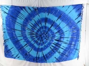 blue tie dye sarong swirl beachwear