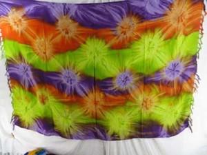 Starburst tie dye sarong tube dress green orange purple brown