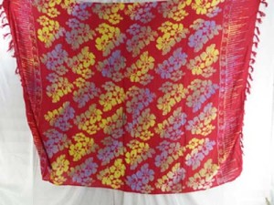 red color double process hand stamped sarong in flower design mixed designs randomly picked by our warehouse staffs