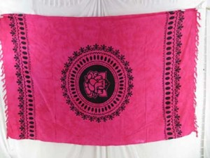 Rayon fuchsia sarong mandala Ganesh (Ganesha, Ganpati) yoga tapestry, wall hanging art, bedspread, coverlet, shawl scarf