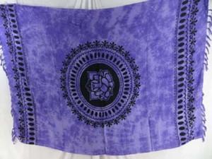 Rayon purple sarong Ganesh (Ganesha, Ganpati) mandala yoga tapestry, wall hanging art, bedspread, coverlet, shawl scarf