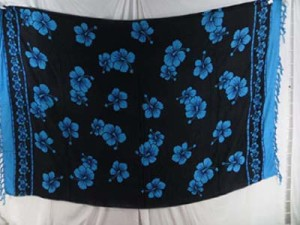 blue black hibiscus floral sarongs