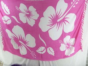 pink and white giant hibiscus flowers pareo whole sale dress