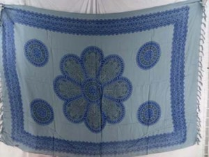 artwear sarong wholesale lady clothing blue daisy with bluish grey background