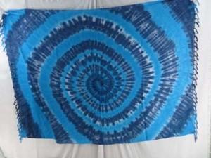 blue grey swirl tie dye sarong