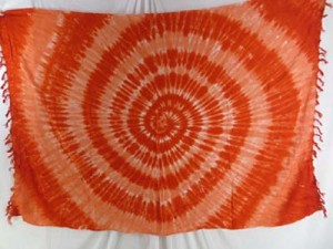 wholesale batik tie dye sarong orange swirl