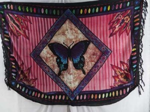 pink sarong butterfly in diamond frame