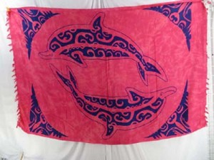 native tribal design large double dolphin sarong red