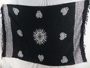 black and white heart celtic sarong wraps wiccan tapestries pagan wall hangings celtic wall art
