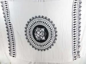 black and white sarong mandala Ganesh (Ganesha, Ganpati) yoga tapestry, wall hanging art, bedspread, coverlet, shawl scarf