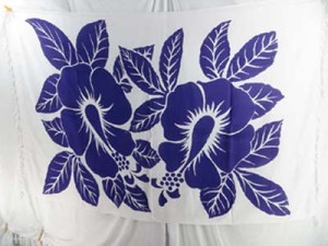giant purple hibiscus flower on white background sarong