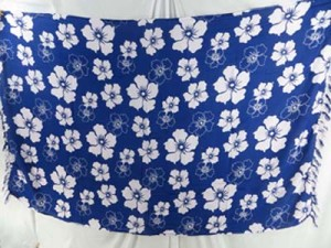 blue sarong with white hibiscus flower
