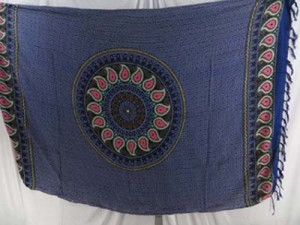 paisley mandala blue Kanga Lava-Lava indonesian sarongs