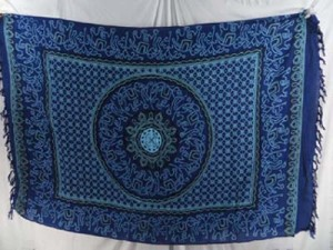 elephant mandala blue sarong with elephants borders