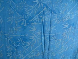 batik pareo balinese sarong turquoise blue with bamboo leaves
