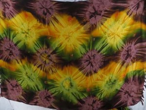 tie dye sarong starburst brown green yellow