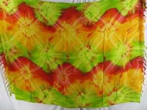 wholesale hippie clothing tie dye sarong starburst green red yellow