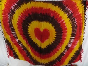 tiedye heart swirl sarong yllow red brown grey mixed designs randomly picked by our warehouse staffs