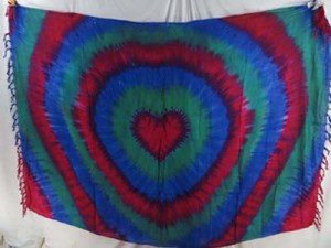 heart tiedye swirl sarong red blue green