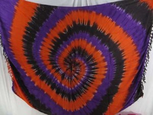 tiedye swirl sarong orange black purple