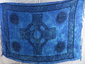 blue celtic cross sarong wraps wiccan tapestries pagan wall hangings celtic wall art