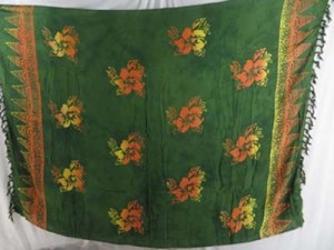 orange green summer wear wholesale hibiscus hawaiian mundu pareau
