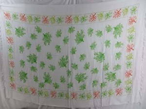 green trees on white background sarong