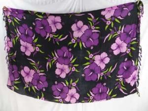 purple hibiscus flower black swimsuit cover up Hawaiian sarong