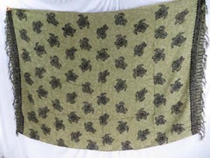 earth green Lava-Lava Kanga turtle sarong wrap