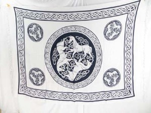 triple horses black and white celtic sarong wraps wiccan tapestries pagan wall hangings celtic wall art