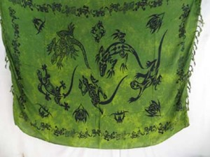 green gecko tribe tattoo sarong