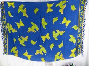 blue sarong yellow butterfly bathing suit cover up