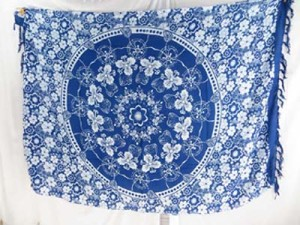 blue and white mandala sarong