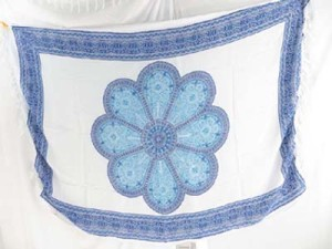 large blue daisy mandala on white background sarong