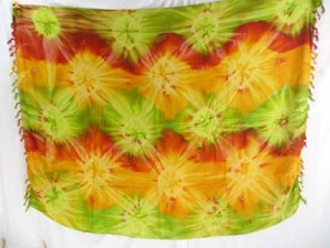 cruise wear dresses tie dye sarong star burst green red yellow