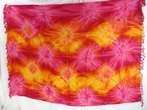 red pink yellow star burst smoked tie dye sarongs