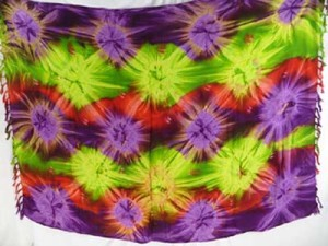 womens cruise wear tie dye sarong starburst green purple brown