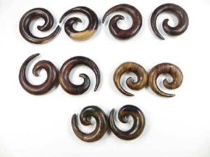 organic wood ear gauges spiral tribal earrings ear expanders
