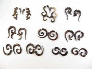 large gauge cheaters fakies, wooden earrings that look like heavy gauge, but without large piercings