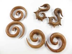 organic jewellery hanging wood taper stretcher expanders spirals