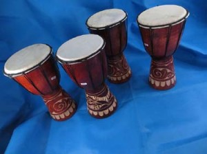 hand-carved djembe drum, hand percusssion African style drum with goat skin head, handcrafted from one piece of mahogany wood