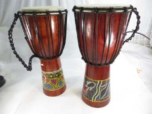hand-painted djembe drum, hand percusssion African style drum with goat skin head, handcrafted from one piece of mahogany wood