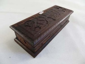 long retangular hand-carved wooden jewelry box treasure box
