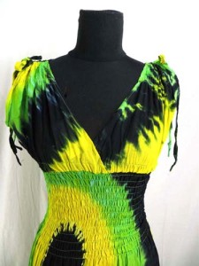 rasta tie dye hippie long dress / maxi sundress with smock waist on front and back