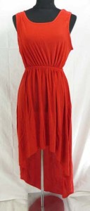Lady's high-low dresses. Mixed colors in red, blue and orange
